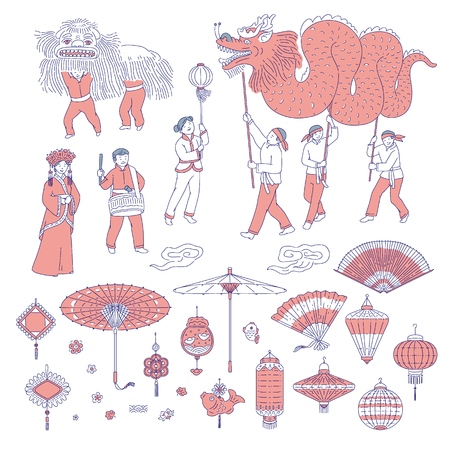 Symbols Chinese New year people in traditional costumes. Vector line art set lanterns talismans for holiday home decoration. National celebration parade and symbols of China culture Ilustração