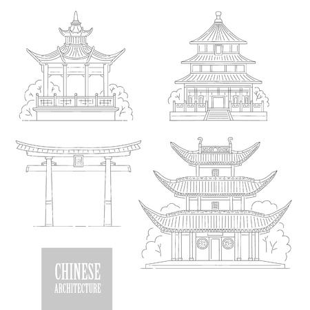 Conjunto de vectores hitos arquitectónicos chinos. Arquitectura oriental línea blanca y negra arte puerta pagoda y gazebo diferentes edificios nacionales tradicionales de China