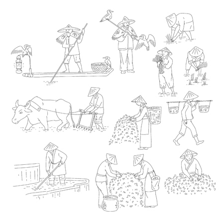 Vector Chinese farmers and fishermen black white line art set people plant rice, grow tea and go fishing. Symbols of asian agricultural culture