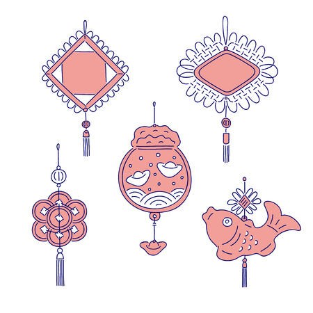 Chinese New year traditional money talismans. Vector line art set for holiday home decoration national celebration symbols of China culture Illustration