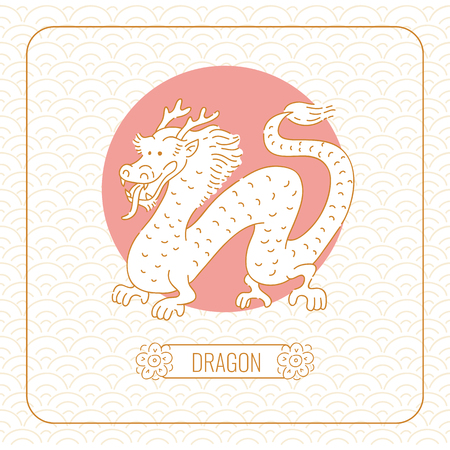Year dragon Chinese horoscope vector line art and pattern on white background.