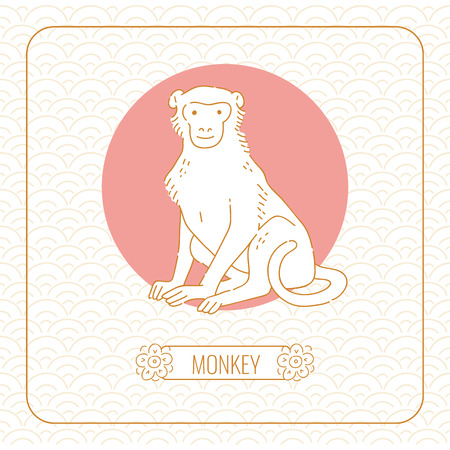 Year monkey Chinese horoscope vector line art and pattern on white background.