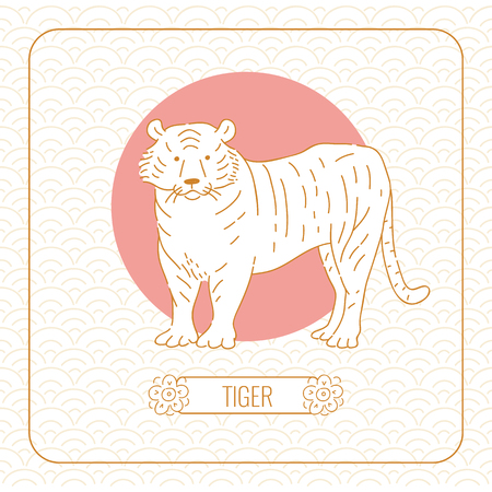Year tiger Chinese horoscope vector line art and pattern on white background.