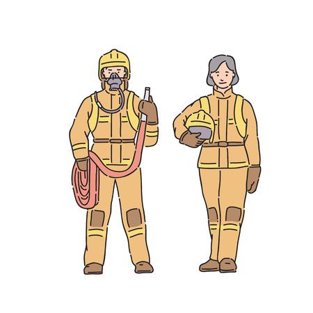 Pompier femme et homme en tenue de protection professionnelle. Illustration vectorielle dans le style d'art en ligne sur fond blanc