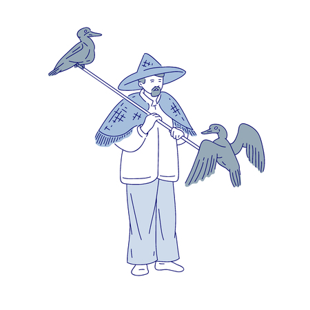Chinese fishermen and duck fisher. Vector line art people go fishing. Symbols of asian agricultural culture