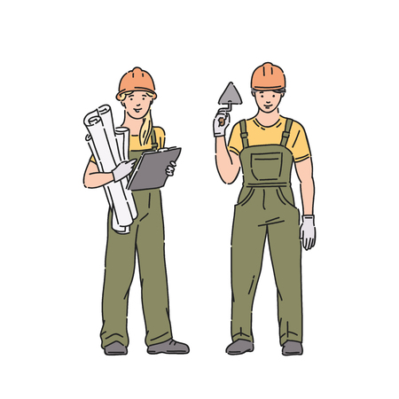 builder woman and man in professional uniform and protective helmet. Vector people illustration in line art style on white background Illustration