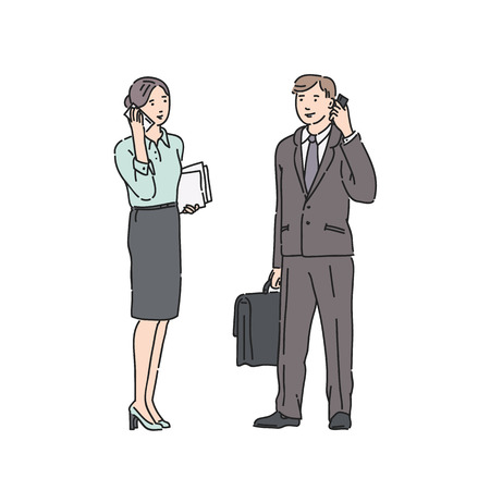 Business woman and man in strict suit talking on phone. Vector illustration in line art style isolated on white background