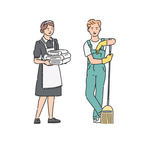 Service personnel maid woman and janitor man in professional uniform. Vector illustration in line art style isolated on white background