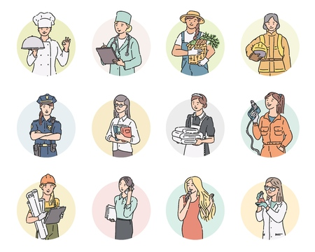 Vector set round icon women different professions. Labor Day people illustration in line art style in professional uniform