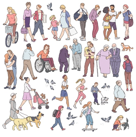 Vector walking urban crowd on street in city. Woman with kids people with dogs pigeons bicyclist and other characters line art. Children and adults in various situations. Illustration