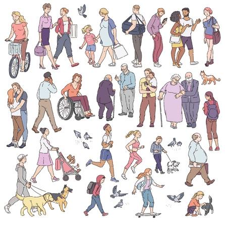 Vector multitud urbana a pie en la calle en la ciudad. Mujer con niños, personas con perros, palomas, ciclista y otros personajes de arte lineal. Niños y adultos en diversas situaciones.
