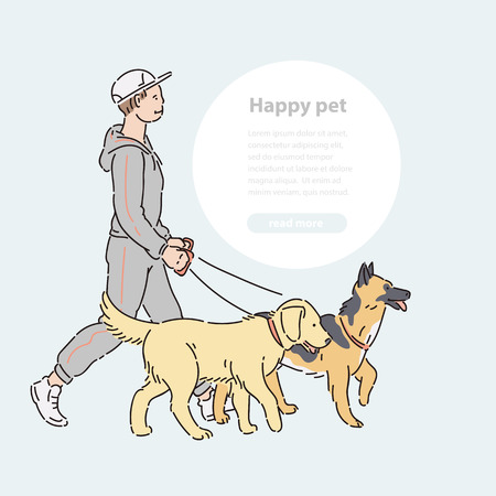 Man with two large dogs on leash. Vector line art host with pets shepherd and labrador for a walk illustration banner and round area for text