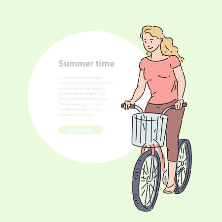 Girl rides bicycle with shopping basket in summer time vector line art illustration banner and round area for text