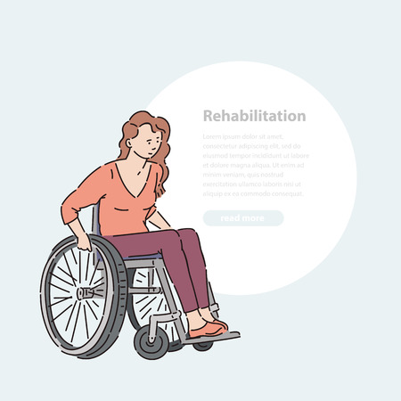 Young disabled woman in wheelchair vector line art illustration banner and round area for text.