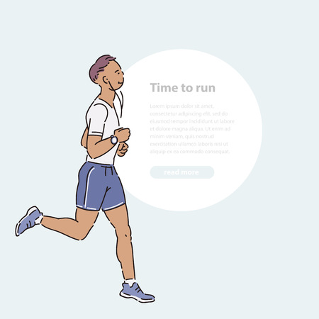 Young man athlete runs with headphones summer time vector line art flat illustration banner and round area for text.