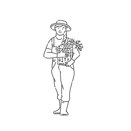 Farmer woman with vegetable basket in hand. Line art style character vector black white isolated illustration