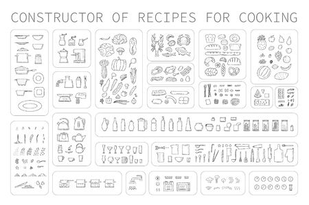 Cooking instruction icons of different food utensils and appliances for kitchen. Step guide constructor set line art vector black white isolated illustration