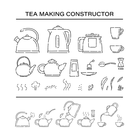 Cooking brew tea procedure constructor set icons. How to make hot drink teapot and boil in the kettle water vector line art sketch black white isolated illustration Vektoros illusztráció