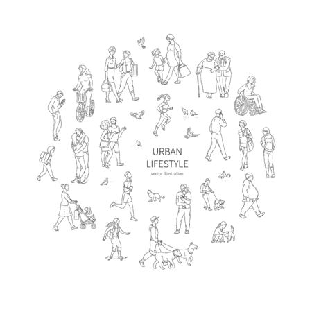 Vector walking urban crowd. Children and adults people pigeons and other characters in a circle line art style black white illustration background.