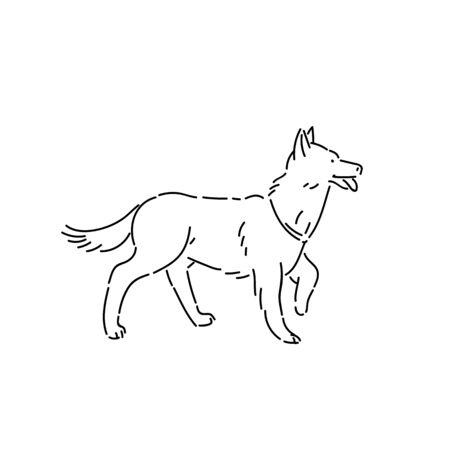 Large pedigree dog shepherd. Line art style character vector black white isolated illustration.