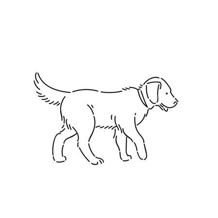 Large pedigree dog labrador retriever. Line art style character vector black white isolated illustration.
