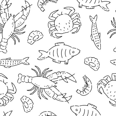 Pattern seamless sea products line doodle. Varieties marine food vector sketch black isolated illustration on white background.