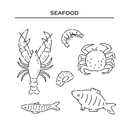 Set different sea products line doodle icons. Varieties marine food vector sketch black isolated illustration on white background.