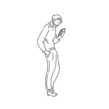 Young man goes and looks in phone vector line art black white sketch 일러스트