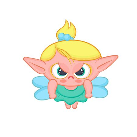 Angry elf fairy with wings. Cute blond girl sorceress in dress vector fantastic character isolated cartoon illustration. Ilustração