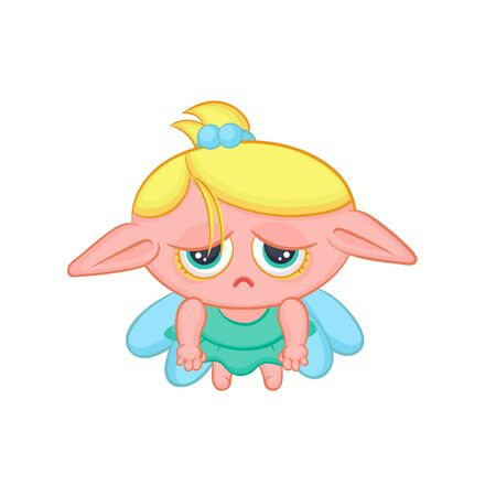 Sad elf fairy with wings. Cute blond melancholy girl sorceress in dress vector fantastic character isolated cartoon illustration. Illustration