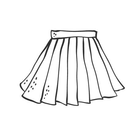Jupe de vecteur plissé uniforme classique pour l'école et le bureau. Croquis contour doodle illustration noir blanc.