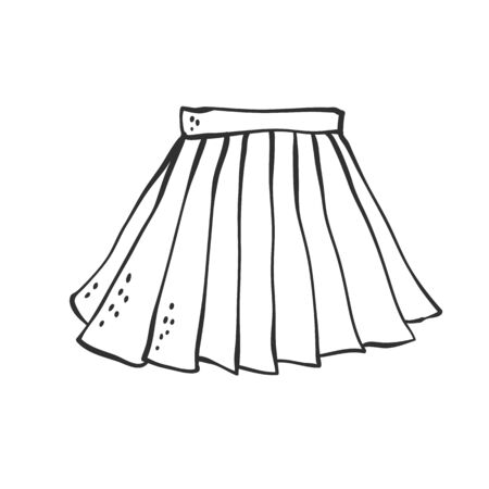 Vector skirt pleated classic uniform for school and office. Sketch contour doodle black white illustration. Vettoriali