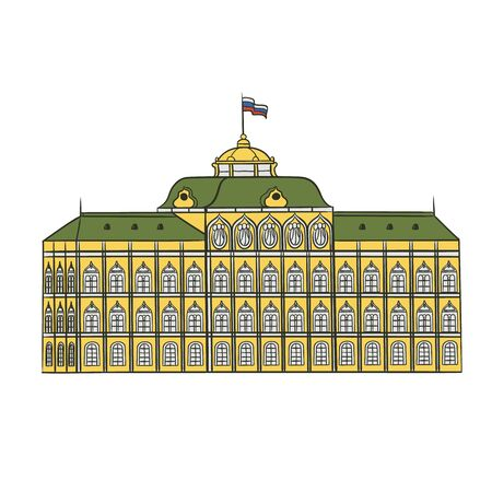Grand Kremlin Palace in Moscow official residence President of Russia. Historical attraction architectural monument vector flat illustration.
