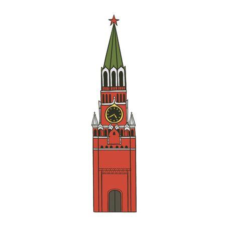 Spasskaja-Turm mit Uhr im Moskauer Kreml mit Blick auf den Roten Platz in Russland. Historische Attraktion architektonisches Denkmal flache Vektorgrafik.