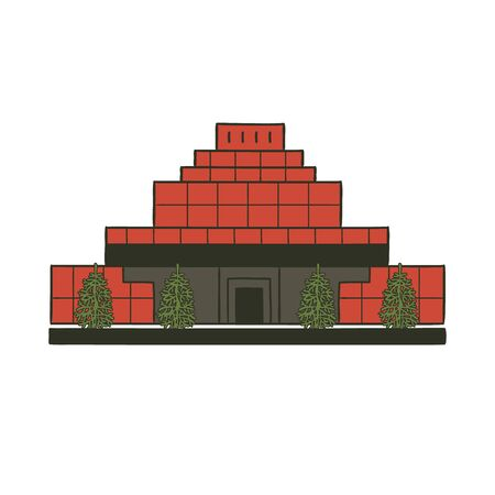 Mausoleum with body Lenin in Moscow Kremlin Red Square of Russia. Historical attraction architectural monument vector flat illustration.