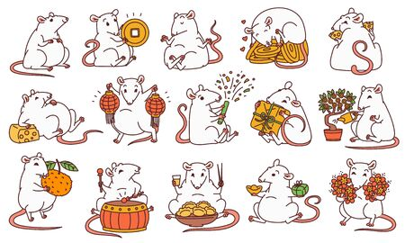 Rat set with different Chinese new year symbols. Cute mouse holds money and Chinese lanterns eats cheese and festive food drums and lets off fireworks. Vector outline cartoon illustrations.