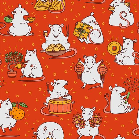 Rat with different Chinese new year symbols seamless red pattern. Cute mouse holds money and lanterns eats cheese and festive food drums and lets off fireworks vector outline cartoon background.