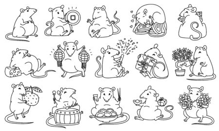 Rat set Chinese new year symbols. Cute mouse holds money and Chinese lanterns eats festive food drums and lets off fireworks. Vector black white outline illustrations.