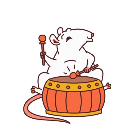 Rat Chinese new year symbols. Cute mouse play drum vector outline cartoon isolated illustration.  イラスト・ベクター素材