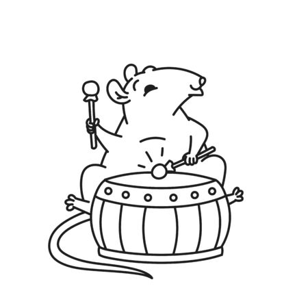 Rat Chinese new year symbols. Cute mouse play drum vector outline black white cartoon isolated illustration.  イラスト・ベクター素材