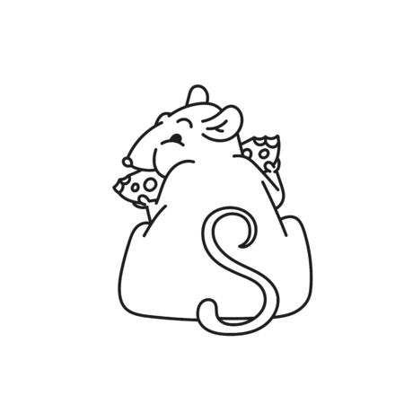 Rat white cute fat mouse sits its back and eats cheese. Chinese new year symbol outline black white vector cartoon isolated illustration. Illustration