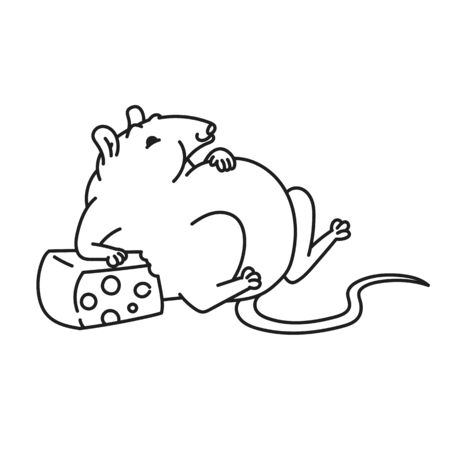 Rat white cute fat mouse too much cheese. Chinese new year symbol outline vector cartoon black white isolated illustration.