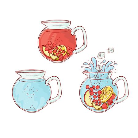 Vector ice tea drink fruits and berries brew process. Make and pour in transparent jug cold aromatic beverage. Sketch hand drawn illustration.