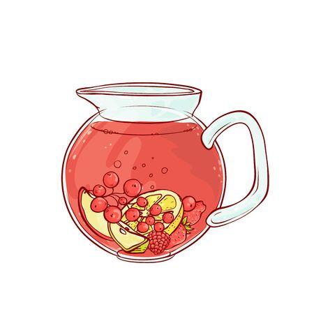 Ice tea drink fruits and berries in transparent jug cold aromatic beverage. Vector sketch hand drawn illustration Vektorgrafik