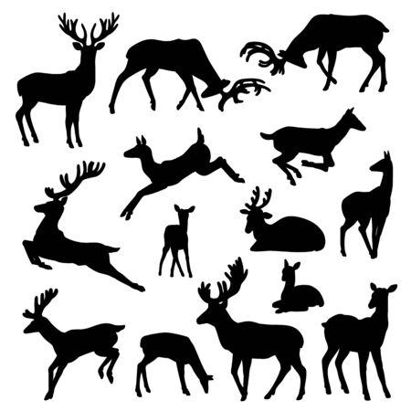 Wilde Hirsche Silhouette Vektor Set Männchen und Weibchen mit Babys in verschiedenen Posen Illustrationen isoliert auf weißem Hintergrund.