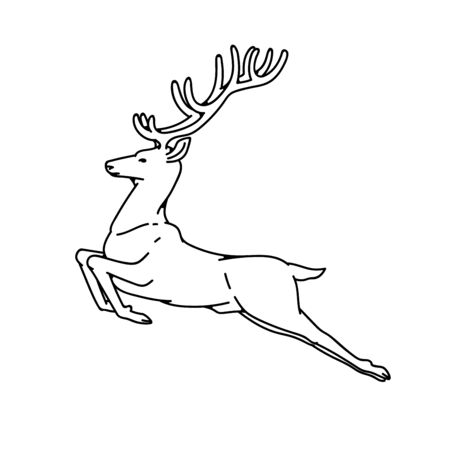 Wild deer male buck with branched horns jumped view profile vector outline black white sketch illustration.