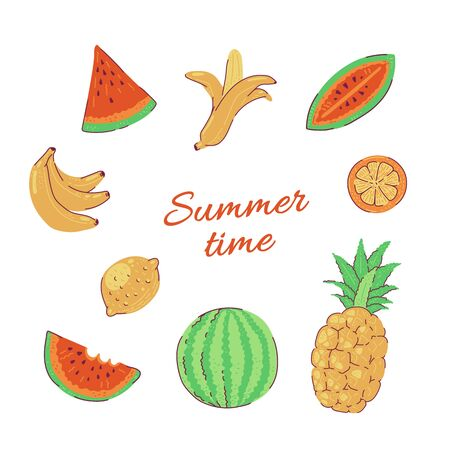 Tropical fruits vector bright summer set illustration isolated on white background.