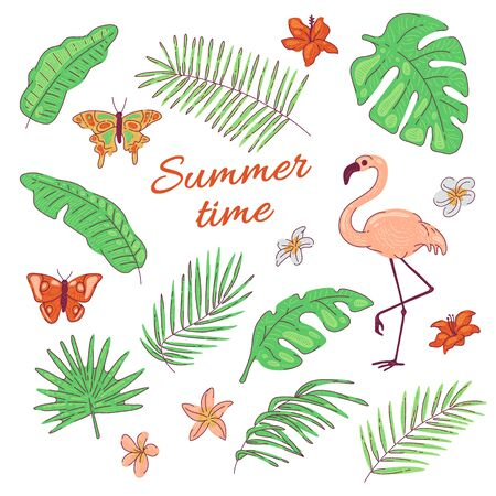 Tropical leaves flowers butterfly flamingo exotic coconut and banana palm tree. Vector summer cartoon flat illustration isolated on white background Archivio Fotografico - 140236274