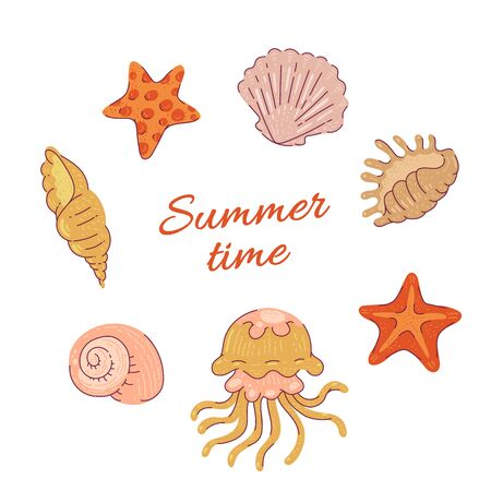 Set sea shells starfish and jellyfish. Vector ocean tropical animals cartoon flat illustration isolated on white background Illustration