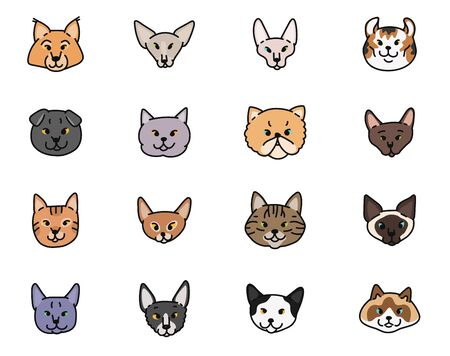 Cats faces breeds vector set contour sketch isolated illustration.